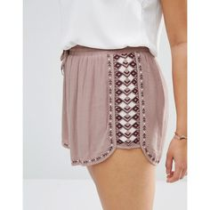 Missguided Plus Printed Shorts (85 BRL) ❤ liked on Polyvore featuring shorts, woven shorts, womens plus size shorts, print shorts, rayon shorts and patterned shorts