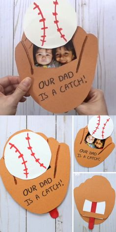 Dad will LOVE this kid-made baseball glove Father's Day card! The perfect keepsake for the sports-loving dad! A home-run hit for Father's Day! Dad will LOVE this kid-made baseball pop-up card! Kids Fathers Day Crafts, Fathers Day Art, Happy Fathers Day, Fathers Day Gifts, Crafts For Kids, Grandpa Birthday Gifts, Birthday Gift For Father, Dad Birthday Craft, Diy Birthday Cards For Dad