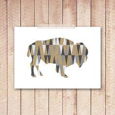 5x7 Buffalo Art Print Buffalo PRINTABLE by PaperCanoePrintables