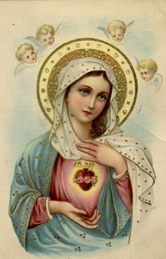 Items similar to Virgin Mary Blessed Mother Mary with Sacred Heart and Cherub Angels Christian Roman Catholic Religious Holy Art Devotional Image Photo Print on Etsy Blessed Mother Mary, Divine Mother, Blessed Virgin Mary, Religious Pictures, Religious Icons, Religious Art, Immaculée Conception, Jesus E Maria, Vintage Holy Cards