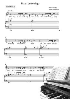 Ноты Billie Eilish - listen before i go - Пианино&Вокал Billie Eilish, Sheet Music, Songs, Music Sheets