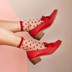 Red Shoes, Sock Shoes, Cute Shoes, Me Too Shoes, Funky Shoes, Flat Shoes, Red Aesthetic, Look Chic, Pumps
