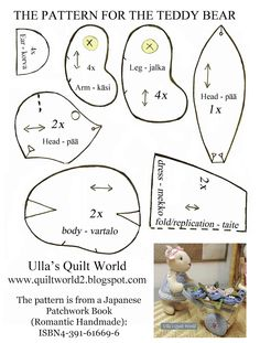 Ulla's Quilt World: Quilted teddy bears, pattern