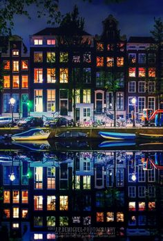 ~~Amsterdam ~ colorful nighttime cityscape, Holanda Canal, Holland by Juan Pablo de Miguel~~ Places Around The World, Oh The Places You'll Go, Travel Around The World, Places To Travel, Places To Visit, Around The Worlds, Wonderful Places, Beautiful Places, Magic Places