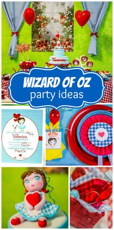 Check out this amazing, classic Wizard of Oz girl birthday party with red and blue party decorations!  See more party ideas at CatchMyParty.com!