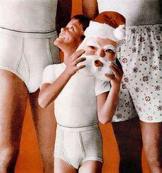 Boy with Santa mask; Vintage underwear ad