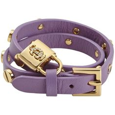 Juicy Couture Double Wrap Screw Dried Lavender Leather Bracelet ($72) ❤ liked on Polyvore featuring jewelry, bracelets, leather jewelry, leather charm, leather bangles, punk jewelry and juicy couture bangle