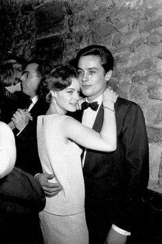 romyschneider:  Alain Delon & Romy Schneider dancing in a nightclub, 1960