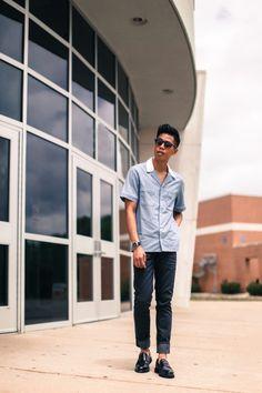 Anthony Urbano wears a Maison Kitsune bowling shirt