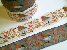 1 m Woven Ribbon Robin 40 mm w. by FreuleinStephi on Etsy