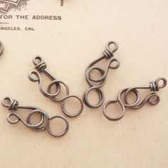 3 Hand Wrapped Oxidized Copper Wire Clasps 11mm X 8 mm With Figure Eights - MEDIUM Finish on Etsy