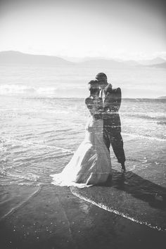 Black and white double exposure wedding photography