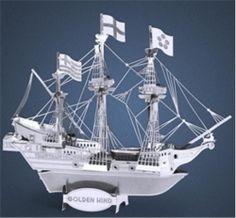 Metal Works 3D Laser Cut Metal Miniature Model Kit Golden Hind