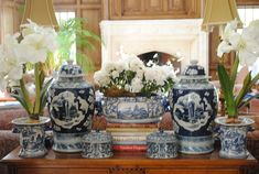 love the set up of the blue and white ginger jars etc