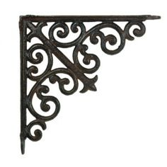 beautiful iron decorative bracket for making shelves, or a plant hanger. Decorative Metal Shelf Brackets, Wood Shelf Brackets, Metal Shelves, Metal Wall Decor, Wooden Furniture, Furniture Projects, Wrought Iron Trellis, Making Shelves, Iron Shelf