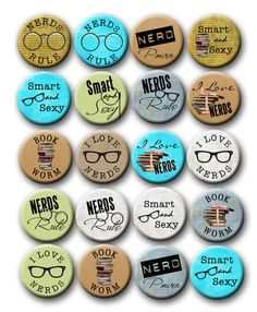 Nerdy Thirty Party Favors 1 inch Pinback Buttons by PaperCandys