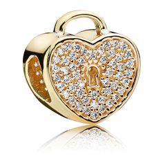 Pandora Charm Herzschloss 750833CZ 14-K-Gold Zirkonia