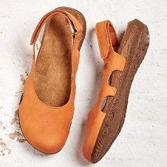 Beef Tendon Hollow Out Suede Comfy Sandals - Getcomfyshoes Low Heel Sandals, Low Heels, Flat Sandals, Rubber Sandals, Orange Gris, Velcro Shoes, Office Shoes, Nude Shoes, Fashion Flats