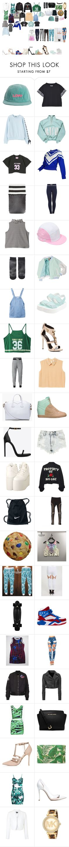 """Packing for Tour"" by royalsinthedark ❤ liked on Polyvore featuring Ashish, Cotton Candy, Free People, Pieces, Larose, Giuseppe Zanotti, Monki, Givenchy, NIKE and Yves Saint Laurent"