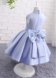 Buy discount In Stock Modern Organza & Satin High Collar Neckline Ball Gown Flower Girl Dresses With Bowknot & Beadings at Magbridal.com