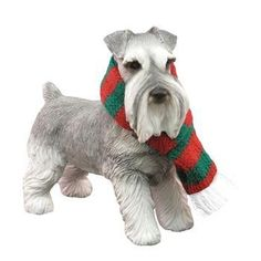 Schnauzer Standing Christmas Ornament - Gray