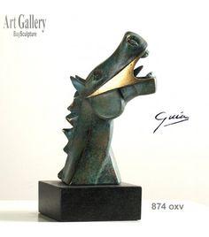 Escultura Caballo Cubista Guernica en Bronce Oxido Verde del escultor Miguel Guía