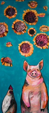 """Hen Loves Pig 56"""" x 24"""" oil paint on wood - by Eli Halpin Oil Paintings at elihalpin.com"""