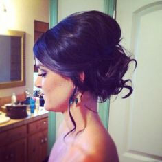 Interesting: soft tousled bun, soft updo, beautiful hair, messy bun, bridesmaid hair, wedding hairstyle