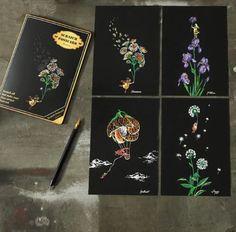Set of 4 Flower Postcards Scratch Painting Kit Magic Doodle, Doodle Art, Scrape Painting, Diy Painting, Different Flowers, Different Patterns, Scratch Art, Drawing Board, Painted Paper