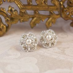 Bridal Post Earrings / Crystal Ivory Pearl Jewelry by EderaJewelry, $134.00