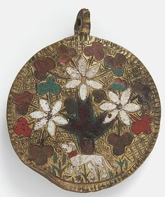 Pendant. Date: 14th century Geography: Made in Limoges, France Culture: French Medium: Champlevé enamel, copper, gilt Dimensions: Overall: 2 13/16 x 2 3/8 x 1/4 in. (7.2 x 6 x 0.7 cm) Classification: Enamels-Champlevé Credit Line: Gift of J. Pierpont Morgan, 1917 Accession Number: 17.190.801