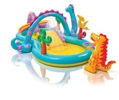 Kids dinosaur pool activity outdoor water toy inflatable animal baby swimming #INTEX
