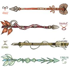 Zodiac Arrows  ♈️ Aries were the vanguard, they invented the custom arrows. The purpose of the horns was to stake their claim on the target or territory. ♉️ Taurus arrows are tied together with a lace that has a bull's nose ring at its end. Taurus...