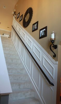 DIY Staircase molding- Im thinking about doing this! Staircase Molding, Staircase Makeover, Diy Molding, Basement Staircase, Crown Molding, Palette Deco, Stairway Decorating, Staircase Decoration, Diy Home Improvement