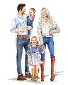 PREMIER Custom Illustration with Solid Background ~ 3 - 4 Full Figures – Jen Lublin Design Family Illustration, Illustration Artists, Mother Daughter Art, Family Drawing, Dressy Attire, Art Template, Full Figured, Art Reproductions, Cool Suits
