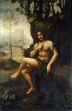 Bacchus (previously known as St John the Baptist.  By Da Vinci (drawing), painter unknown.