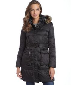 Vince Camutoblack quilted faux fur trim hood belted down three-quarter coat