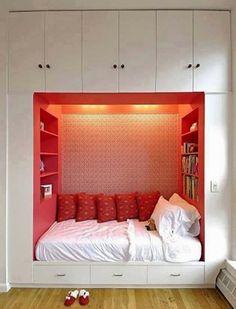 Space-Saving - Built-in Bed/Nook surrounded by Storage. Dream Rooms, Dream Bedroom, Home Bedroom, Bedroom Nook, Teen Bedroom, Bedroom Decor, Bedroom Furniture, Modern Bedroom, Extra Bedroom