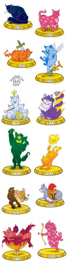 Awesome Greek God and Goddess stickers as cats!