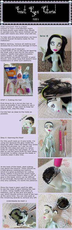 """Base: 17"""" Draculaura This picture shows the clip-on ponytails for the wig. I think she looks really cute with or without them! <3"""