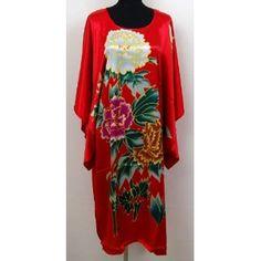 Shanghai Tone® Kimono Bath Robe Sleepwear Nightgown Red One Size,$20.50