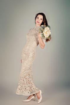 A crochet Irish Lace wedding dress