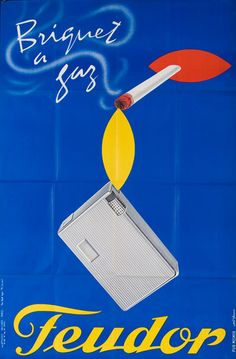 1950s Feudor Gas Lighters French vintage advert poster