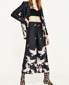 0c995bb2 Image 2 of PRINTED CULOTTES from Zara Culotte Pants, Women's Pants, Black  Trousers,