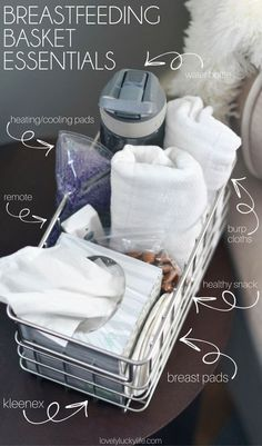 these are the things you need for a nursing station when you're a breastfeeding mom. helps keep things organized and it's so helpful for middle of the night feedings and having what you need while you're feeding baby