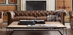 Tufted Couch and Coffee Table Tufted Couch, Home Decor Furniture, Home Furnishings, Restoration Hardware Living Room, Leather Restoration, Leather Chesterfield, Leather Sofas, E Room, Classic Sofa