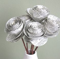 rolled paper roses. repurposed dictionary.  large. set of 5
