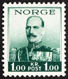 NORWAY - CIRCA 1937: a stamp printed in the Norway shows King Haakon VII, circa 1937