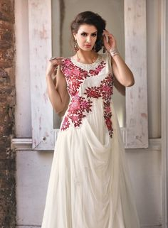 Off White designer long evening gown in net and georgette C15072
