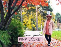 pink scarf felt hat coat pastel sweater helsinki finland autumn fall leaves foliage colors